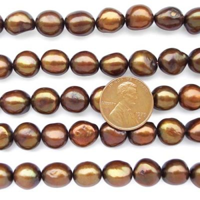 Chocolate 10-11mm Length Drilled Baroque Pearls on Temporary Strand