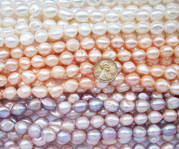 White, Pink and Mauve 11-12mm Length Drilled Baroque Pearl Strand