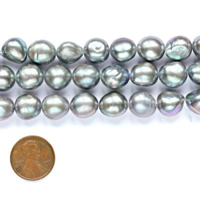 Silver Grey 11-12mm Length Drilled Baroque Pearl Strand