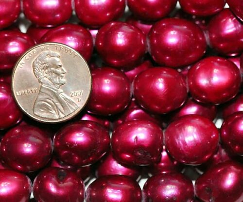 12-13mm Length Drilled Cranberry Baroque Pearl Strand