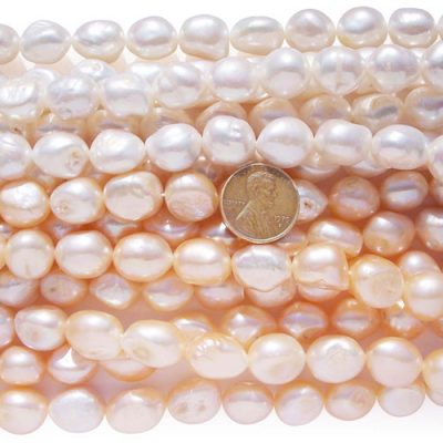 12-13mm Length Drilled White and Pink Baroque Pearl Strand