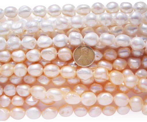 Mauve 12-13mm Length Drilled High Quality Baroque Pearl Strand, Larger Holes