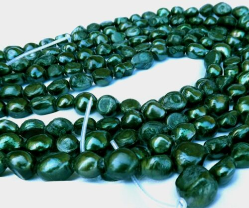 Dark Green 12-13mm Length Drilled A Quality Baroque Pearls, 2.3mm Hole