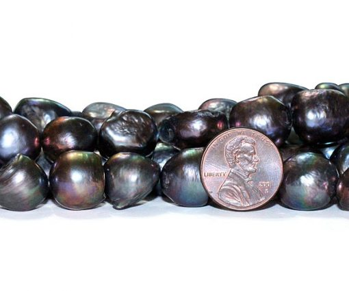 Black Rare 13-14mm A quality Length Drilled Baroque Pearl Strand