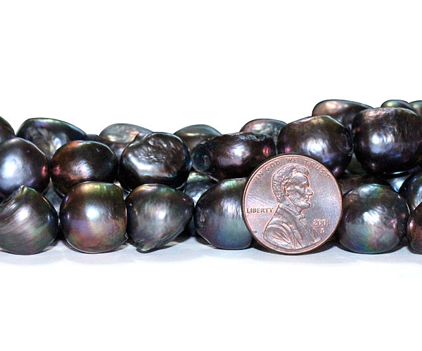 Black Rare 13-14mm A quality Length Drilled Baroque Pearl Strand