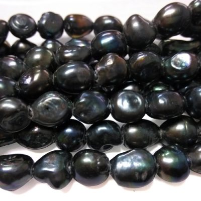 Black Rare 13-14mm Length Drilled Baroque A Quality Pearls, Larger Holes