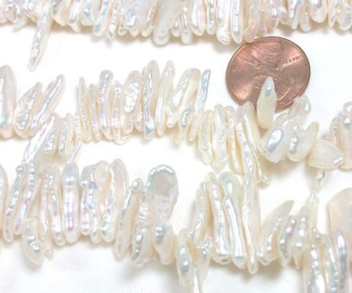 White Top Drilled Stick Biwa pearl strand