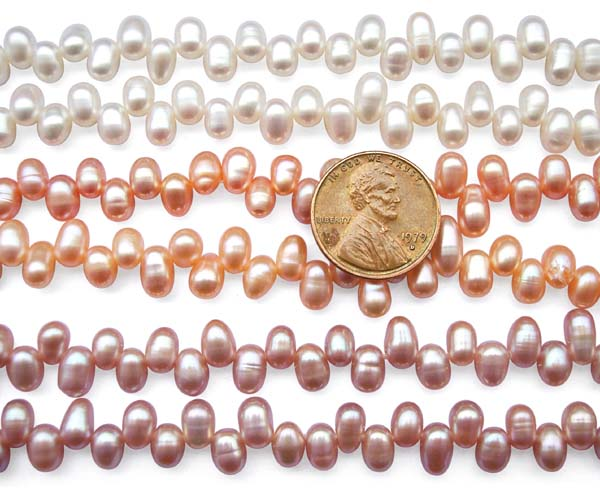 White, Mauve and Pink 4x5mm Top Drilled Drop Pearls or Peanut Pearls on Temporary Strand