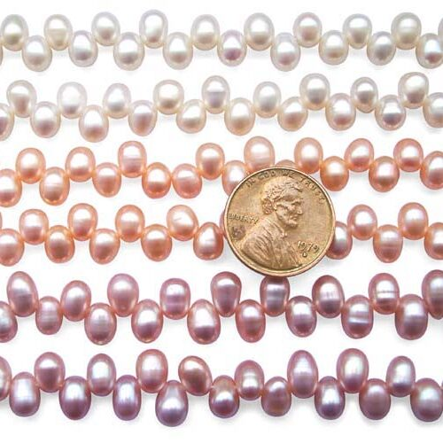 White, Pink and Mauve 5x6mm Top Drilled AAA Drop Pearls or Peanut Pearl Strand