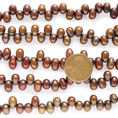 Chocolate 5x6mm Top Drilled AAA Drop Pearls or Peanut Pearls on Temporary Strand