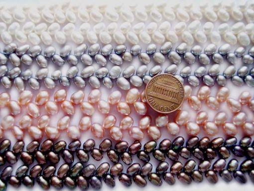 White, Silver Grey, Pink and Black 5x7mm Top Drilled Two Row Drop Pearl Strand