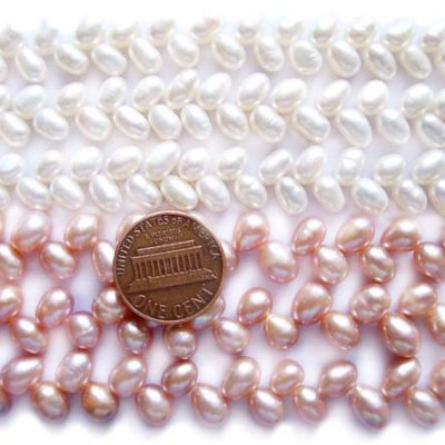 White and Lavender 5x7mm Top Drilled Two Row Drop Pearl Strand