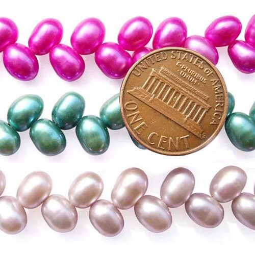 Hot Pink, Green and Pink Top Drilled 5x7mm Two Row Drop Pearl Strand