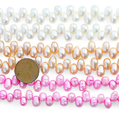 White, Peach and Baby Pink Top Drilled Drop Pearls on Temporary Strand