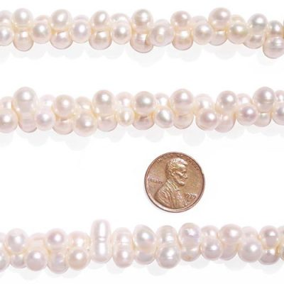 White 7x14mm Center Drilled Peanut Pearl Strand