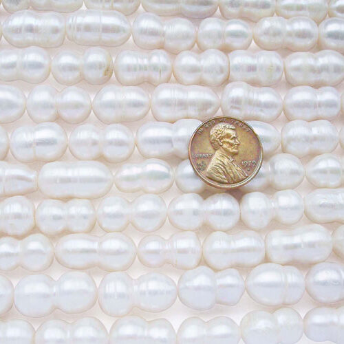 White 9x16mm Length Drilled  Peanut Pearl Strand