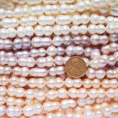 White, Mauve and Pink 9x16mm Peanut Pearl Strand, Length Drilled