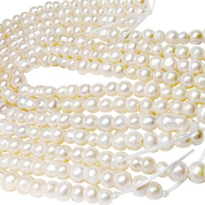 2mm or 2.3mm Large Hole Length Drilled Quality 9x16mm Peanut Pearl Strand