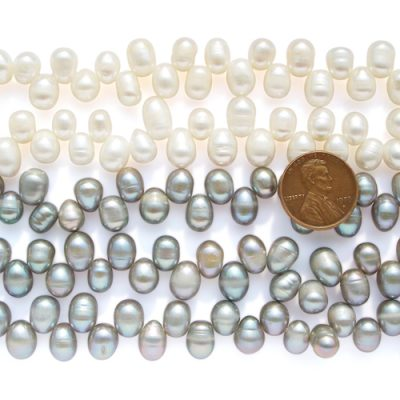 White and Grey 7-8mm Top Drilled Drop Pearls on Temporary Strand