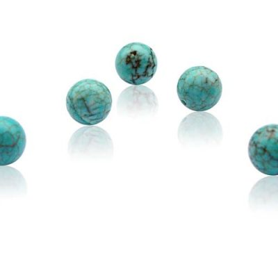 Turquoise 8mm Individual Beads, Half Drilled