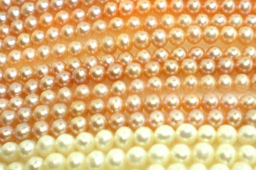 3-4mm Round White and Pink Pearl String