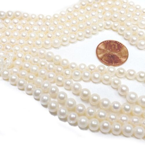 5-6mm White Round Pearl Strand Large 0.9mm Hole Size