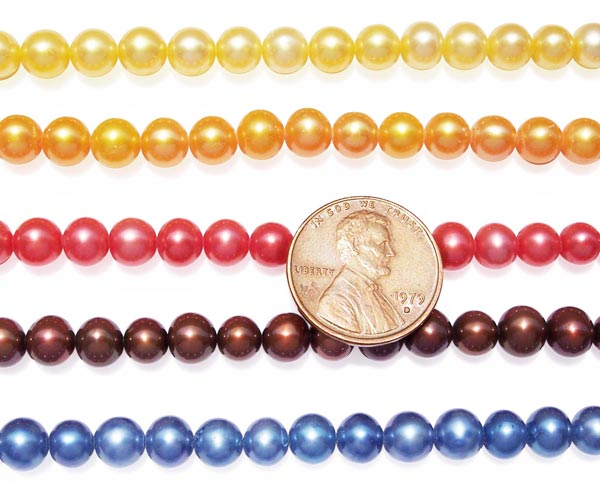 Yellow, Gold, Red, Chocolate and Blue 6-7mm AA+ Round Pearl Strand