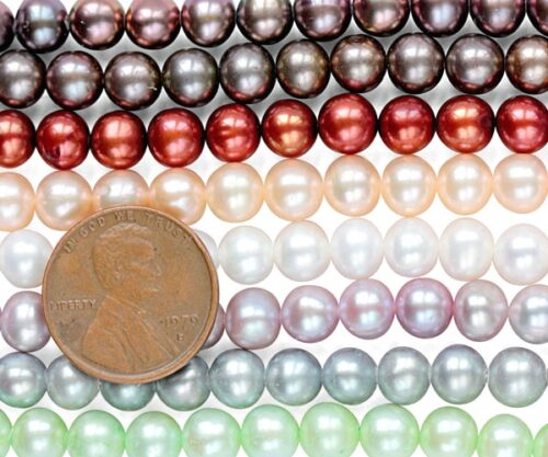 6-7mm AA Quality Round Pearl Strand, 1.3mm hole