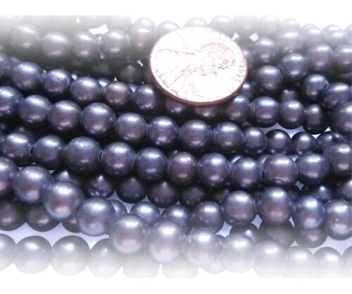 6-7mm AA+ Quality Round Black Pearl Strand, 1.3mm hole