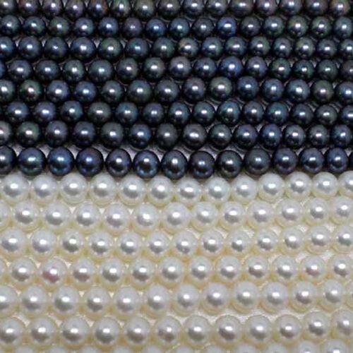 6-7mm white and black round pearls Strand