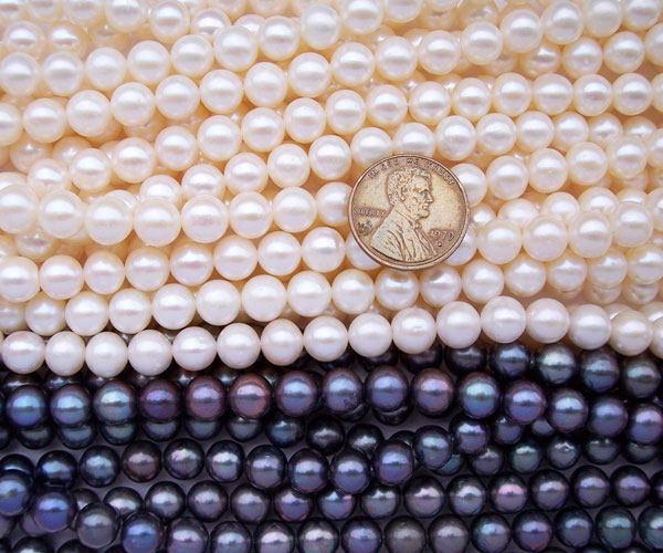 White and Black 7-8mm Round Pearl Strand