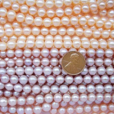 Mauve and Lavender 7-8mm Round Pearl Strand