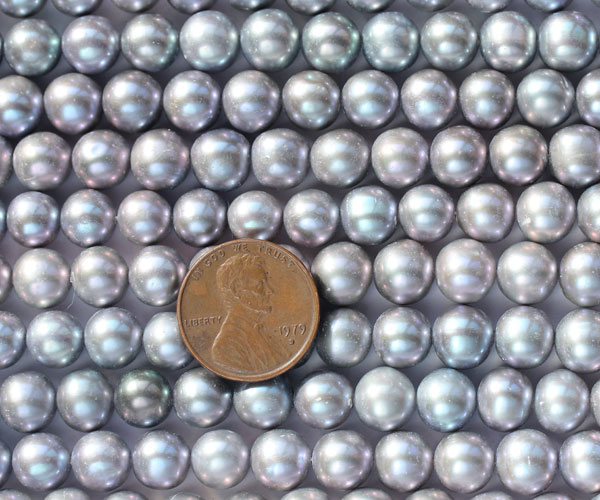 Grey 8-9mm A Quality Round Pearl Strand