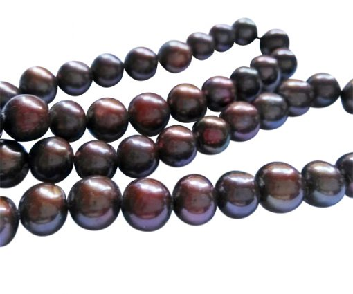 Black 8-9mm Round Pearl Strand with Large Holes