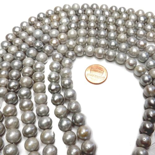 9-10mm Grey Colored Nucleated Pearl Strand