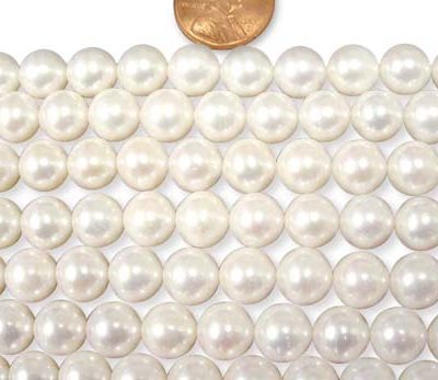 White Large 9-10mm AA+ Round Pearl Strand