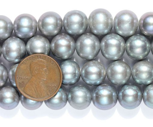 Grey 10-11mm A Graded Round Pearls on Temporary Strand