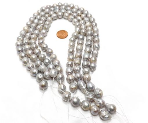10-11mm Grey Colored Nucleated Round Pearl Strand
