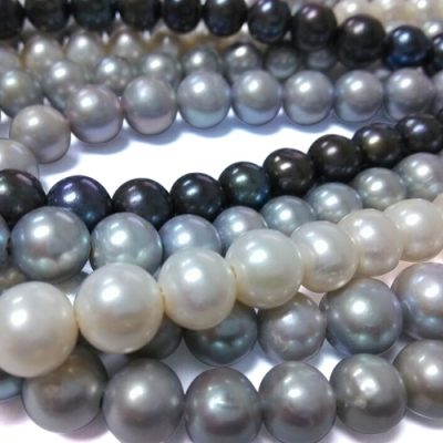 White, Black and Grey 11-12mm Round Pearls on Temporary Strand, 2.3mm Hole