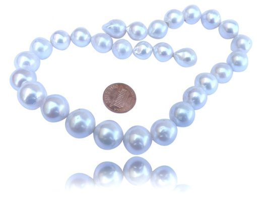12-15mm Huge Round White Pearls on a Strand