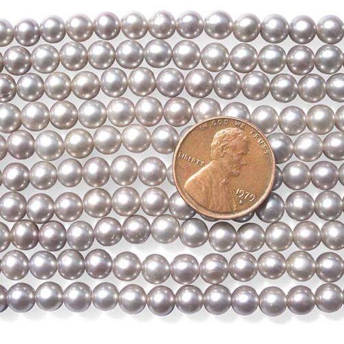 Grey 5-6mm Round Pearl Strand