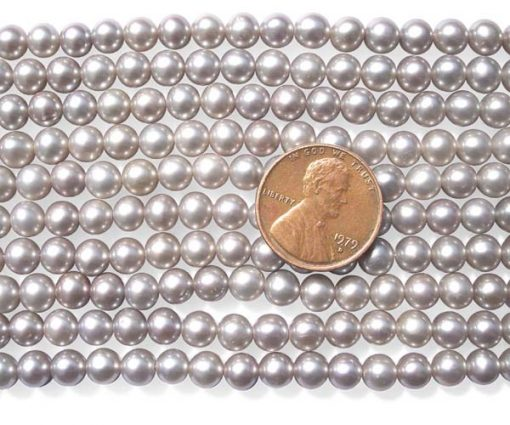 Grey 5-6mm Round Pearl Strand