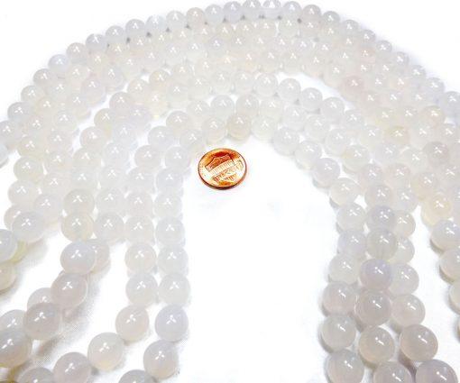 10mm White Round Agate Strand