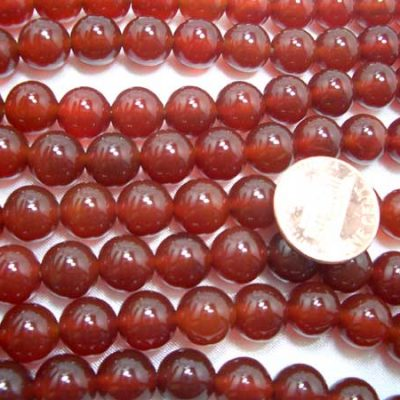 Red 10mm Round Agate on Temporary Strand