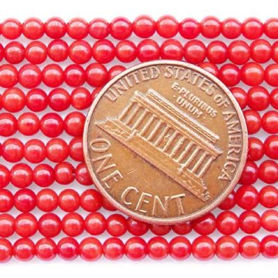 Red 2mm Round Coral Beads on Temporary Strand