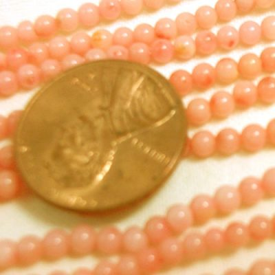 3mm Round Genuie Coral Beads Pink Colored