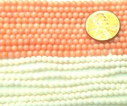 3-4mm Round White and Pink Coral Beads on Temporary Strand