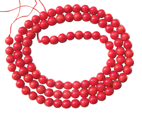Red 4-5mm Round Coral Beads on Temporary Strand