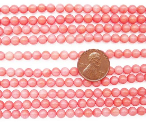 Baby Pink 5-6mm Genuine Round Coral Beads on Temporary Strand