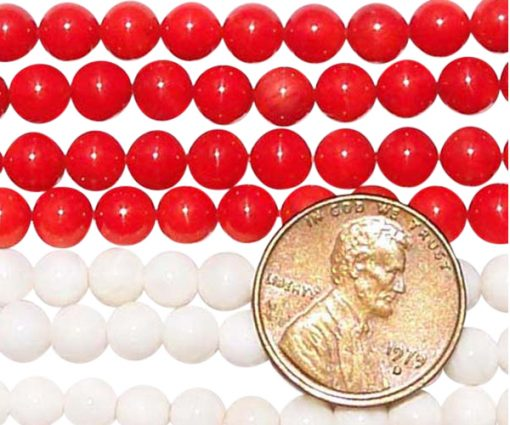 5-6mm Genuine Round Coral Beads on Temporary Strand